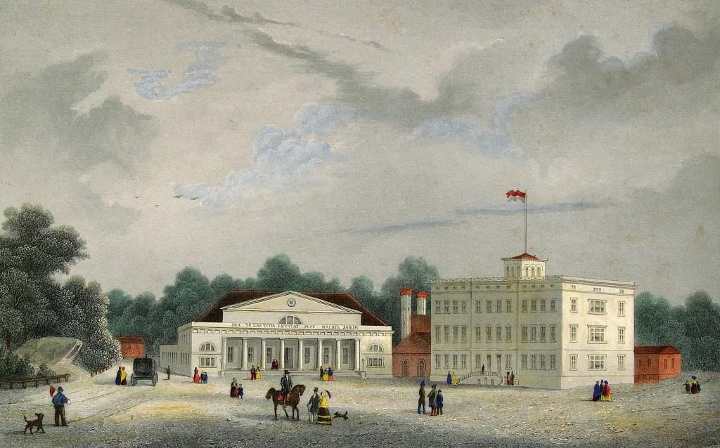 Altes Heiligendamm um 1855: Hier ist das Ensemble noch ohne das Grand Hotel zu sehen.