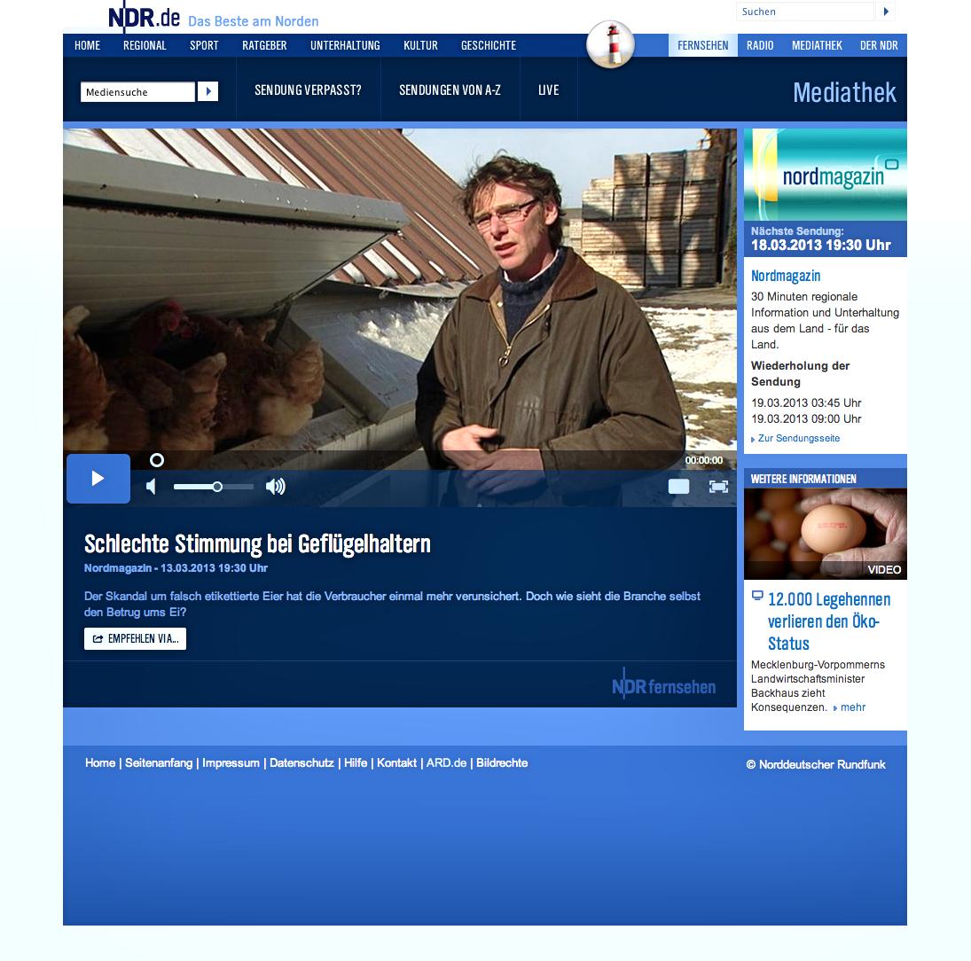Der Beitrag über die Geflügelbranche in Mecklenburg-Vorpommern ist online noch zu sehen. Foto: NDR